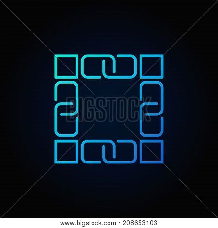 Blockchain technology blue icon. Vector block chain concept linear symbol or logo element on dark background