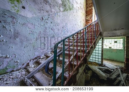 Stairs in abandoned kindergarten in Skrunda ghost town former USSR military base in Lativa