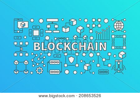 Creative banner made with block-chain line icons and word BLOCKCHAIN inside on blue background