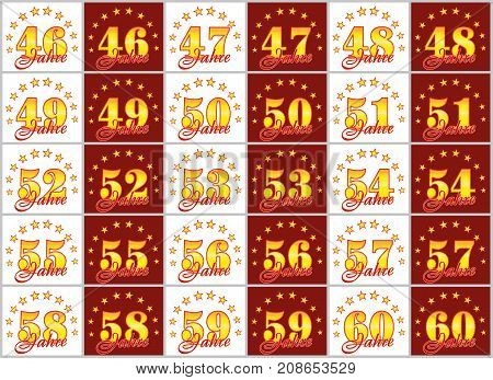 Set Of Gold Numbers From 46 To 60 And The Word Of The Year Decorated With A Circle Of Stars. Vector