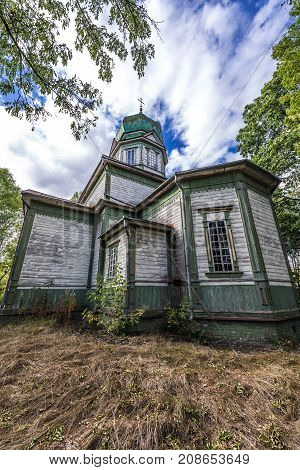 Abandoned Orthodox church in Krasne deserted village of Chernobyl Exclusion Zone Ukraine