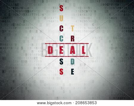Business concept: Painted red word Deal in solving Crossword Puzzle on Digital Data Paper background