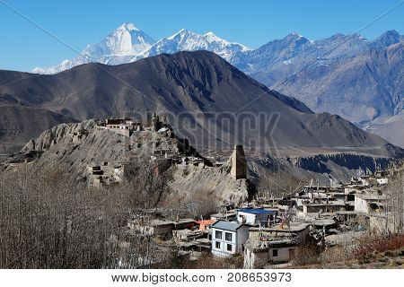 The ruins of an ancient Buddhist monastery next to the current and a small village near Muktinath