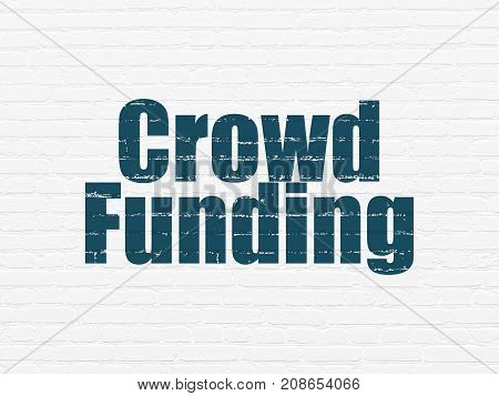 Business concept: Painted blue text Crowd Funding on White Brick wall background