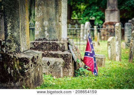 A confederate flag on a Civil War veteran's grave in Virginia.