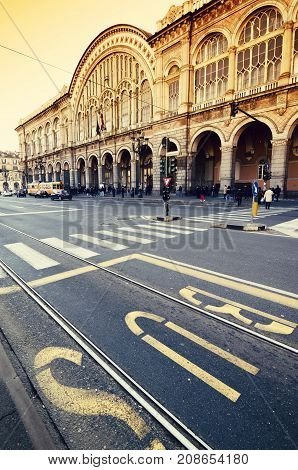 Turin porta nuova railway station new front view of the building turin piedmont italy