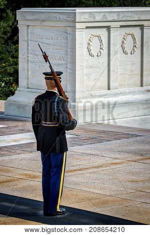 A member of The Old Guard on duty at Arlington National Cemetery in front of the Tomb of the Unknown Soldier.