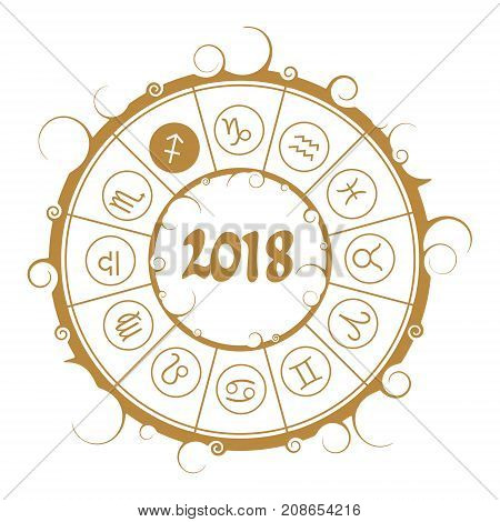 Astrological symbols in the circle. Archer sign. New Year and Christmas celebration card template. Zodiac circle with 2018 new year number.