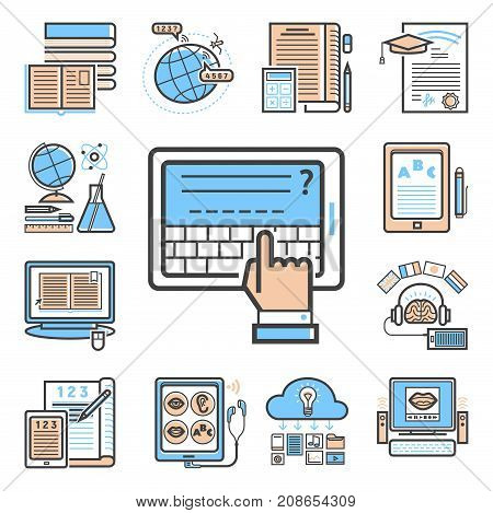 Set of flat design outline icons education tutorials staff training learning research knowledge vector illustration. Internet technology distance profession service web concept.