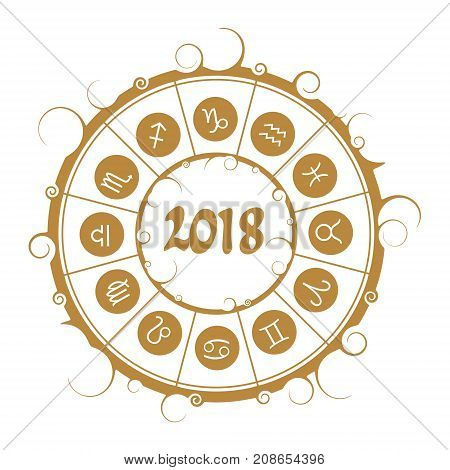 Astrological symbols in the circle. New Year and Christmas celebration card template. Zodiac circle with 2018 new year number.