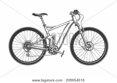 Sport race bicycle with fat tiers, hydraulic disc brake and rear suspension engraved vector illustration isolated on white background. Downhill enduro bike for outdoor, off-road, cross-country biking