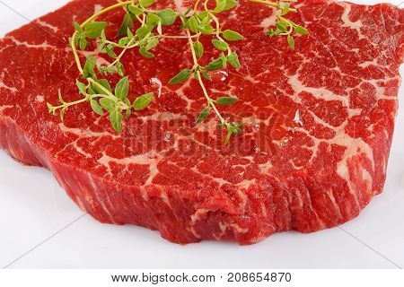 Close-up Of Marbled Beef Striploin Steak