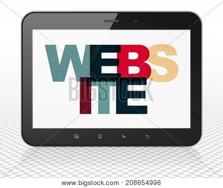 Web development concept: Tablet Pc Computer with Painted multicolor text Website on display, 3D rendering