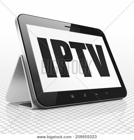 Web development concept: Tablet Computer with black text IPTV on display, 3D rendering