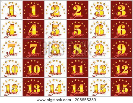 Set Of Gold Numbers From 1 To 15 And The Word Of The Year Decorated With A Circle Of Stars. Vector I