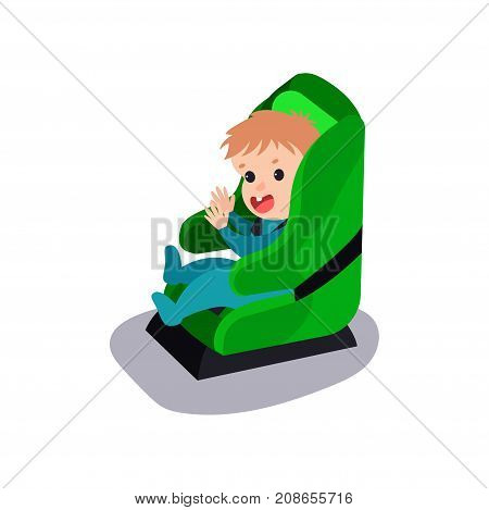 Cute baby sitting on a green car seat wearing seat belt, safe child traveling cartoon vector illustration isolated on a white background