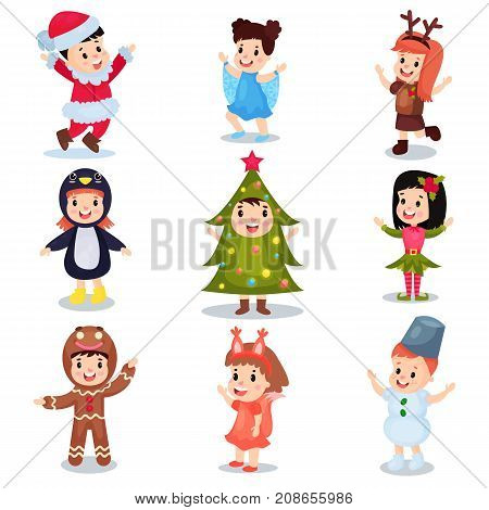 Cute little kids wearing Christmas costumes set, happy children in costumes of Elf, snowman, Santa Claus, Christmas tree, snowflake, gingerbread, squirrel, penguin cartoon vector illustrations isolated on a white background