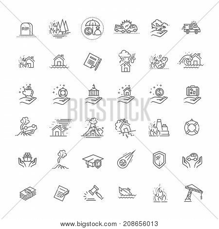 Home risk and insurance icons- vector icon set