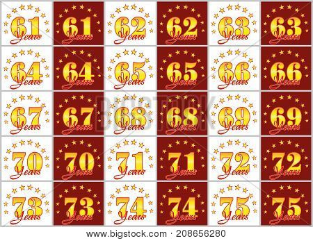 Set Of Gold Numbers From 61 To 75 And The Word Of The Year Decorated With A Circle Of Stars. Vector