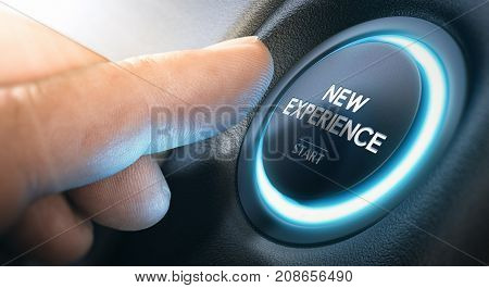 Finger about to press a push button with the message new experience start. Leaving comfort zone and starting new life concept.