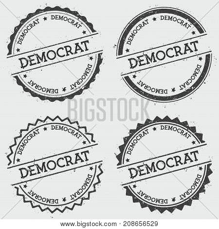 Democrat Insignia Stamp Isolated On White Background. Grunge Round Hipster Seal With Text, Ink Textu