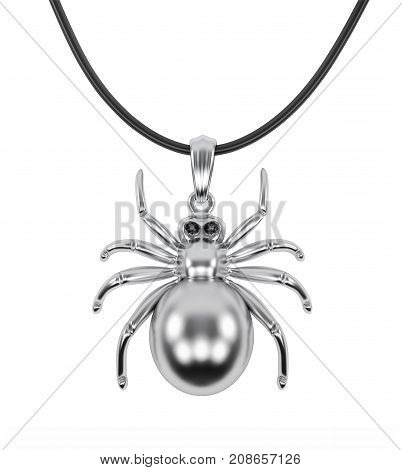 Silver glossy spider pendant with black cord isolated on white background. 3D rendering with clipping path