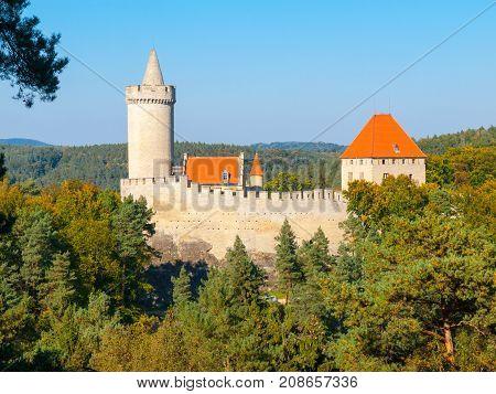 Medieval gothic castle Kokorin, Kokorinsko protected landscape area, Czech Republic.