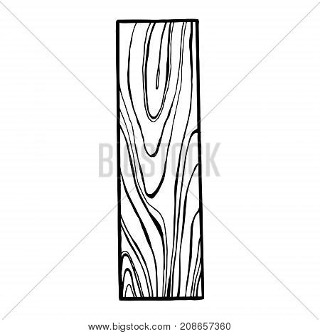 Wooden letter I engraving vector illustration. Font art. Scratch board style imitation. Hand drawn image.