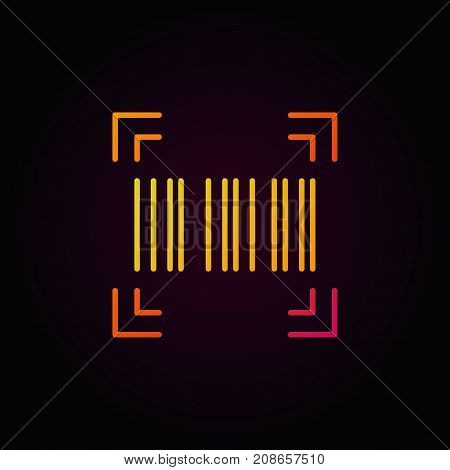 Barcode vector colorful linear icon or design element on dark background