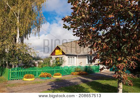 Beautiful Country Yard With Utensils In Autumn.