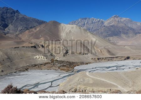 The township is high in the Himalayas in the valley of the mountain river Kali gandaki