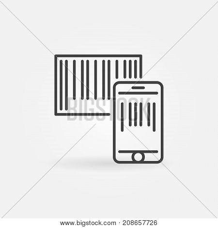 Smartphone scanning barcode icon or symbol in thin line style