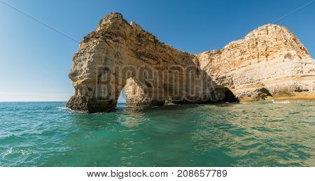 Magnificent cliffs at Marinha beach Algarve Portugal