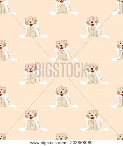 Puppy Golden Retriever Dog Bride on Beige Ivory Background. Vector Illustration.