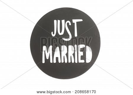 Happy sign Just Married isolated on white background