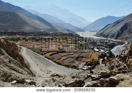 Nepal mountain town Kagbeni in a mountain valley in autumn