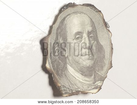 Burning Portrait Benjamin Franklin