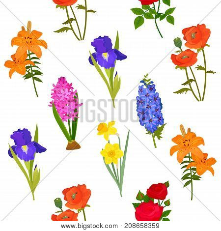 Natural flowers bloom. Grow and plant fragrant iris, daffodil, rose, hyacinth flowers. Greeting card vector. Cut flowers for wreath. Spray of flowers silhouette seamless pattern background
