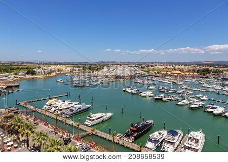 Aerial. View from the sky of marina and yacht Vilamoura. Algarve Faro.