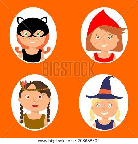 Illustration of gute little girls portraits in halloween costume. Little Red Riding Hood, Pocahontas, Black cat and Witch. Halloween trick or treat illustration.