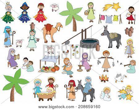 illustration of Nativity Cartoon Characters Set isolated