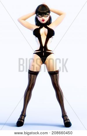 Sexy glamorous girl in black mask, bodysuit and stockings.Young beautiful woman studio.Girl standing full body candid provocative pose.Realistic 3D rendering illustration.