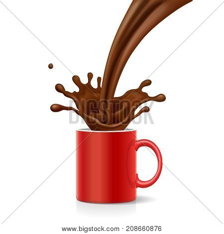 Coffee is splashing in red mug. Cappuccino is poured into the Cup Vector