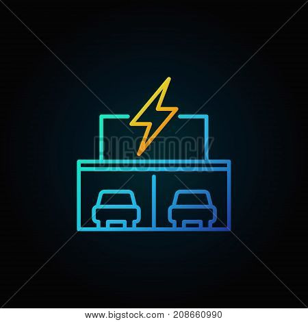Electric car showroom concept icon or symbol in thin line style