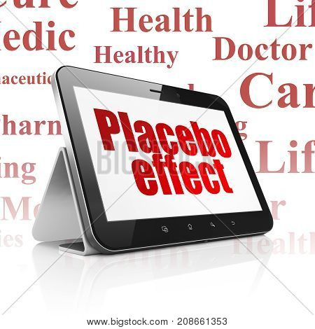 Healthcare concept: Tablet Computer with  red text Placebo Effect on display,  Tag Cloud background, 3D rendering