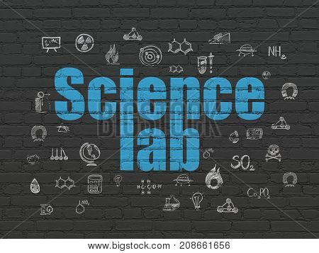 Science concept: Painted blue text Science Lab on Black Brick wall background with  Hand Drawn Science Icons