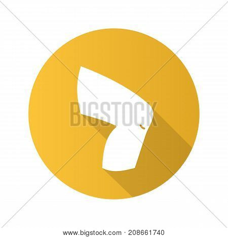 Knee flat design long shadow glyph icon. Vector silhouette illustration