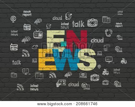 News concept: Painted multicolor text E-news on Black Brick wall background with  Hand Drawn News Icons