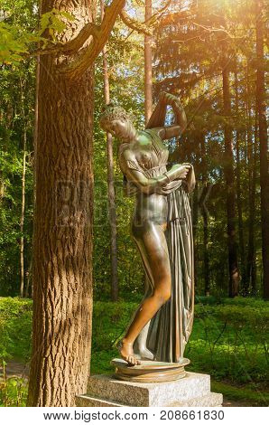 PAVLOVSK ST PETERSBURG RUSSIA - SEPTEMBER 21 2017. Bronze sculpture of Venus Kallipiga - the goddess of love and beauty. Old Silvia park in Pavlovsk St Petersburg Russia