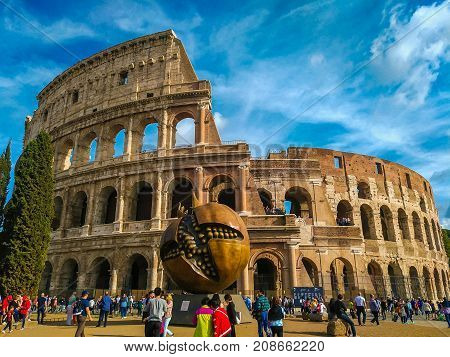 Full view of the colosseum with the pomegranade sculpture in Rome, Lazio, Italy